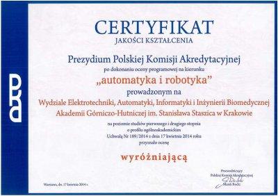 Certyfikat PKA Automatyka i Robotyka