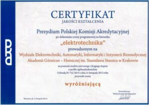 Certyfikat PKA Elektrotechnika