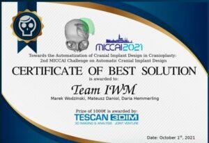 Nagroda na konferencji MICCAI 2021